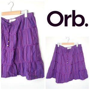 ORB Boho 100% Cotton Purple Circle Skirt